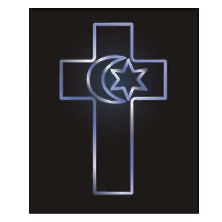 Ilustración de Symbols of three world religions, vector illustration - Imagen libre de derechos