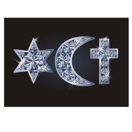 Ilustración de Religious symbols jewish David's star, islamic crescent, christian cross. Vector illustration - Imagen libre de derechos