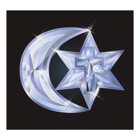 Ilustración de Diamond symbols Judaism, Christianity, Islam, vector illustration - Imagen libre de derechos