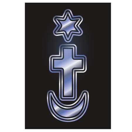 Ilustración de Symbols of the three world religions Judaism, Christianity, Islam. Vector illustration - Imagen libre de derechos