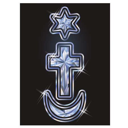 Ilustración de Diamond symbols Judaism, Christianity, Islam, cover design, vector illustration - Imagen libre de derechos