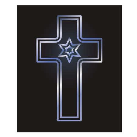 Ilustración de Christian cross and jewish David's star symbols, vector illustration - Imagen libre de derechos