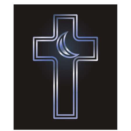 Ilustración de Christian cross and Islamic crescent symbols, vector illustration - Imagen libre de derechos