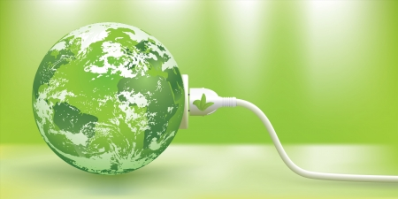 Illustration pour abstract green energy concept with green Earth.   - image libre de droit