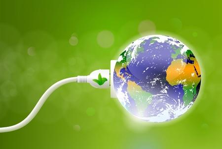 Ilustración de green energy concept with Planet Earth and electric plug   - Imagen libre de derechos