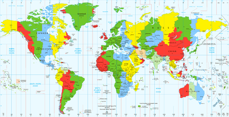 Foto de Detailed World map standard time zones. Vector illustration. - Imagen libre de derechos