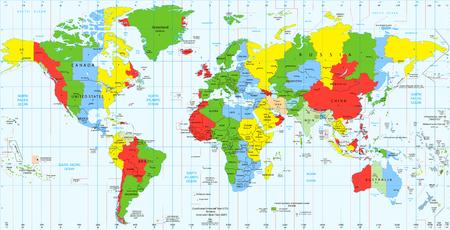 Photo pour Detailed World map standard time zones. Vector illustration. - image libre de droit