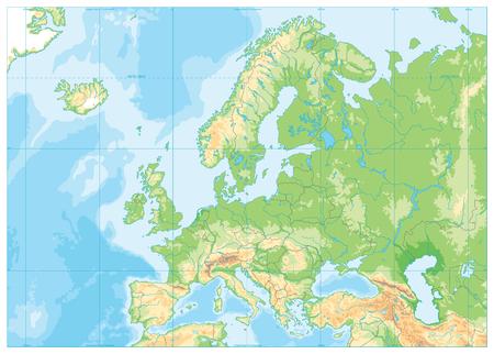Illustration pour Europe Physical Map. No text. Detailed vector illustration of Europe Physical Map. - image libre de droit