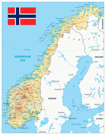 Illustration pour Norway Physical Map. Highly detailed map vector illustration. Image contains layers with shaded contours, land names, city names, water objects and it's names, highways. - image libre de droit