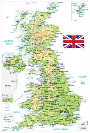 Illustration for United Kingdom Physical Map with city names isolated on white. Vector illustration. - Royalty Free Image