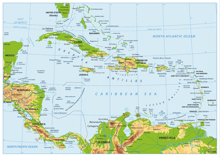 Illustration pour The Caribbean Physical Map. No bathymetry. Highly detailed vector illustration. - image libre de droit
