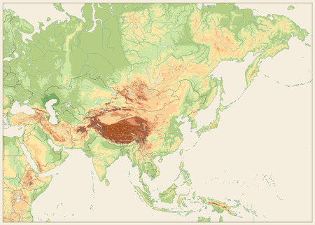 Illustration pour Asia Physical Map Retro White. No text with Rivers and Lakes. - image libre de droit