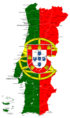 Illustration pour Abstract vector map of Portugal country coloured by national flag isolated on white - Detailed map of Portugal vector illustration - All elements are separated in editable layers clearly labeled. - image libre de droit
