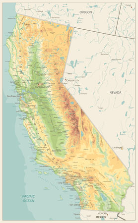 Illustration pour California Physical Map Retro Colors - Highly Detailed Relief Map of California State vector illustration - All elements are separated in editable layers clearly labeled. - image libre de droit