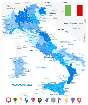 Illustration pour Italy Administrative Divisions Map Blue Colors and Flat Map Icons - Highly Detailed Vector Illustration of Italy Map - Image contains layers with administrative divisions map, land names, city names and flat map icons. - image libre de droit