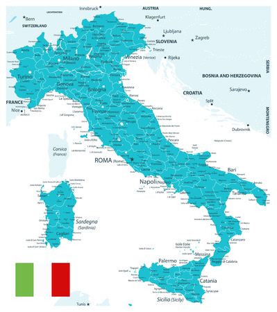 Illustration pour Italy Map Aqua Color - Highly Detailed Vector Illustration of Italy Map. - image libre de droit
