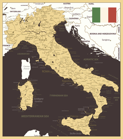 Illustration pour Italy Map Gold and Brown - Image contains layers with map contours, land names, city names, water objects and it's names - Highly detailed vector illustration. - image libre de droit