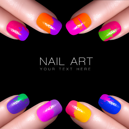 Fingers with colorful nail polish and drops of water. Manicure and makeup concept. Closeup image isolated on black with sample text