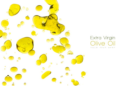 Olive oil drops. Closeup bubbles in water isolated on white. Template design with sample text