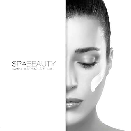 Spa treatment and beauty concept. Portrait of a gorgeous woman with cosmetic cream on her cheek and blank copyspace alongside with sample text. Template design