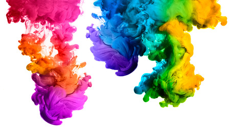 Photo for Ink in water isolated on white background. Rainbow of colors - Royalty Free Image
