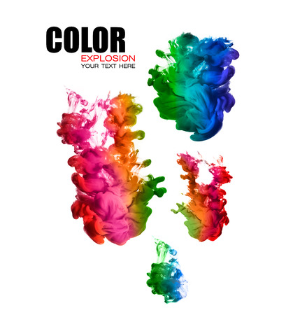 Photo for Ink in water isolated on white background. Rainbow of colors. Template design with sample text. Color explosion - Royalty Free Image
