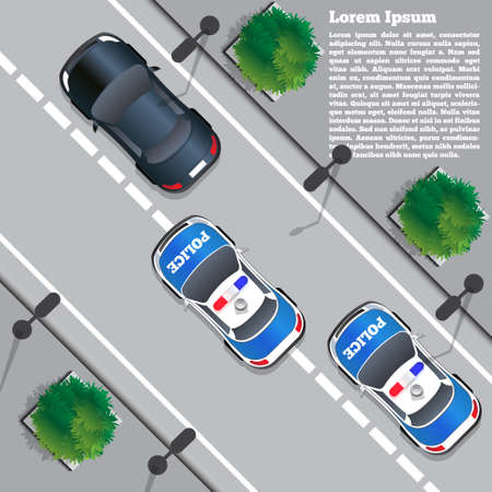 Illustration pour Police chase  View from above. Vector illustration. - image libre de droit