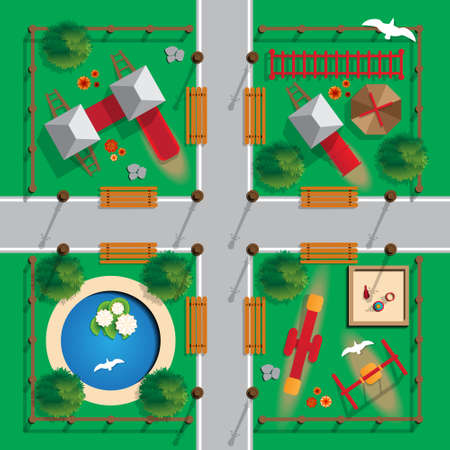 Illustration for Top view playground image illustration - Royalty Free Image