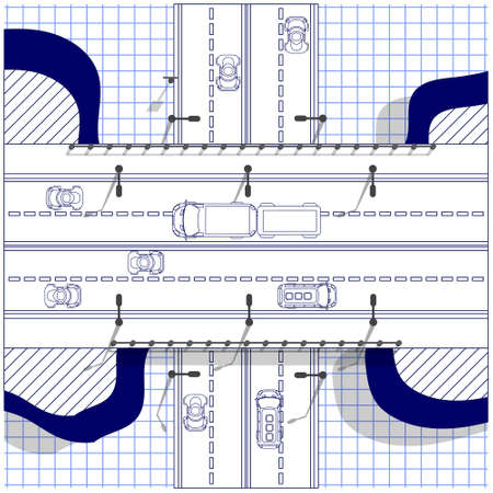 Illustration pour Road bridge on a sheet in a cage. Road junction. View from above. Vector illustration. - image libre de droit
