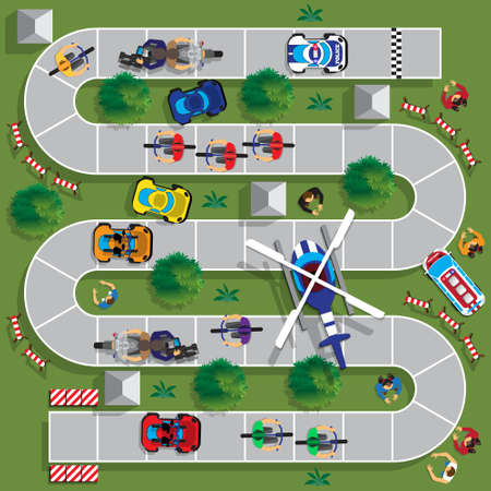 Illustrazione per Cyclists group at professional race. Child Game. View from above. Vector illustration. - Immagini Royalty Free