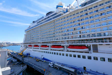 Photo for Seattle, USA - july 21, 2018 - The modern cruiser ship Norwegian Bliss docked in the Port of Seattle - Royalty Free Image