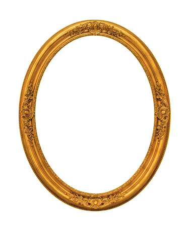 Photo pour Ornamented gold plated empty picture frame Isolated on white background - image libre de droit