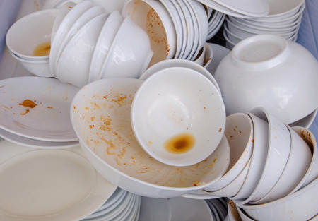 Dirty dishes waiting for wash.