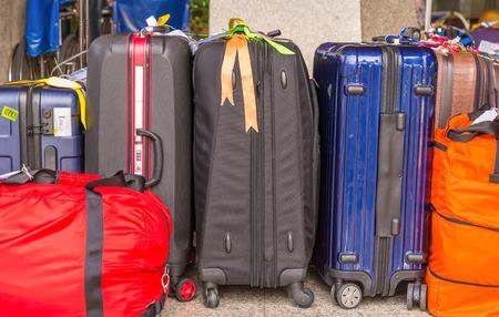 Photo pour Luggage consisting of large suitcases rucksacks and travel bag - image libre de droit