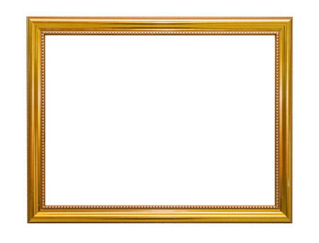 Photo for Gold frame Elegant vintage Isolated on white background. - Royalty Free Image