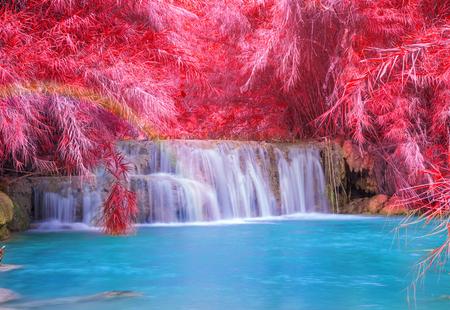 Photo pour Waterfall in rain forest (Tat Kuang Si Waterfalls at Luang prabang, Laos.) - image libre de droit