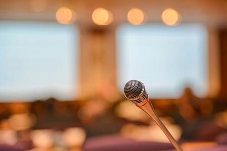 Photo for Microphone in meeting room before a conference. - Royalty Free Image
