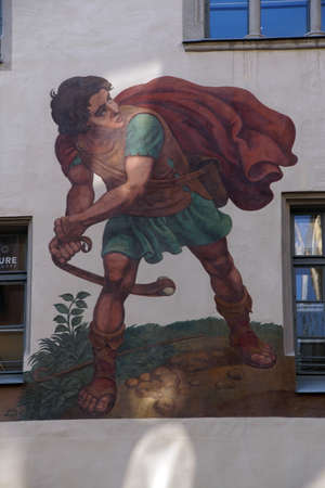 Photo for REGENSBURG, GERMANY - SEP 9, 2016 - Fresco of David and Goliath on building in  Regensburg, Germany - Royalty Free Image