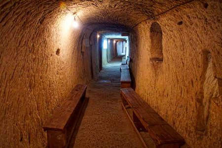 Foto de VALLETTA, MALTA - APR 11, 2018 - Underground air raid shelters from World War II,Malta at War Museum, Birgu Vittoriosa, Malta04/11/18 - Imagen libre de derechos