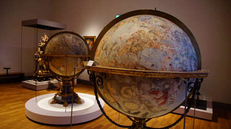 Foto de MUNICH - JUL 22, 2018 - Large antique globes showing celestial zodiac stars, Bavarian National Museum, Munich, Germany - Imagen libre de derechos