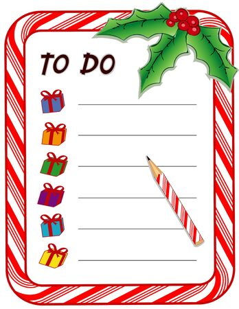 Illustration pour Christmas Gift To Do List with candy cane frame, presents, pencil, holly, berries, isolated on white  - image libre de droit