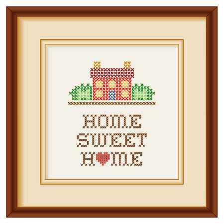 Illustration pour Embroidery, Home Sweet Home with a big red heart in rustic colors, needlework house in landscape graphic cross stitch sewing design isolated on white background, mahogany picture frame     - image libre de droit