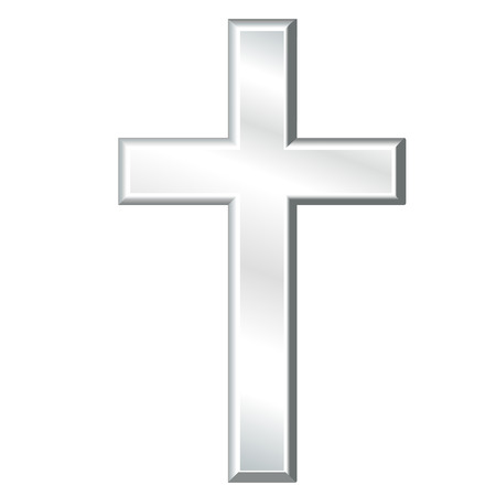 Illustration for Christian Cross, Symbol of Christianity, silver crucifix, symbol of Christian religion and faith, isolated on a white background. - Royalty Free Image