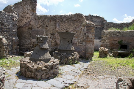 Ancient kitchen kilns used to cook food for a restaurant in Pompeii