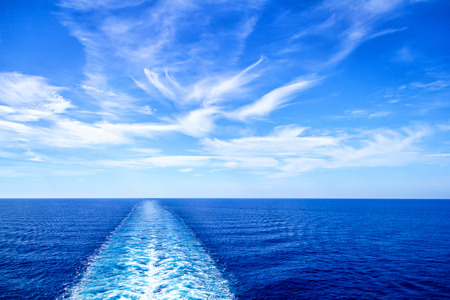 Cruise ship wake or trail on ocean surface