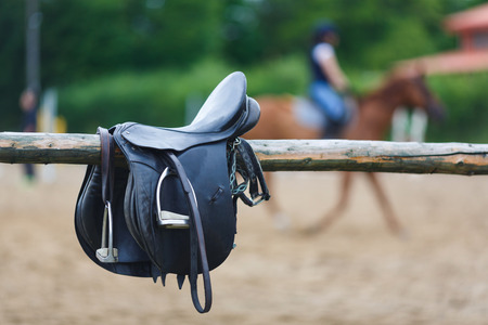 Photo pour A leather saddles horse in a stable at the summer time - image libre de droit