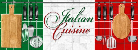 Kitchen utensils hanging on steel pole on a marble background and written italian cuisine
