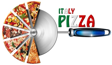 Photo pour Pizza slices on the stainless steel pizza cutter and written Italy Pizza - image libre de droit