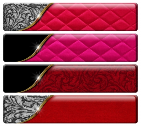 Foto de Set of four luxury banners or headers with floral texture and clipping path - Imagen libre de derechos