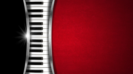Photo for Piano keyboard on black and red velvet background and metal stripes - business card music - Royalty Free Image